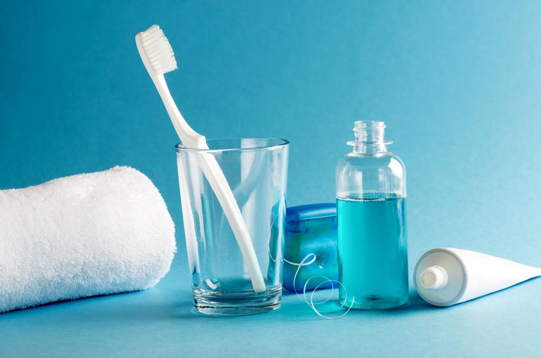 Mouthwash, toothbrush, toothpaste, dental floss, and other oral hygiene products.