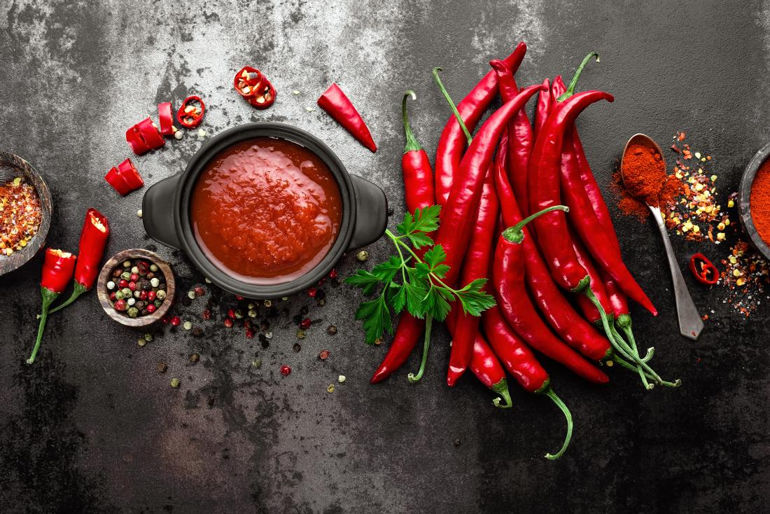 Spicy or hot food with chillis and pepper.